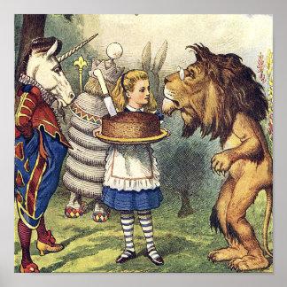 Unicorn Lion and Alice in Wonderland Print