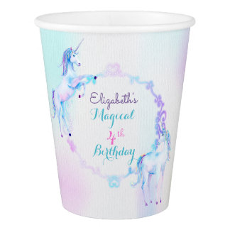 Unicorn Magical Rainbow Lavender Pink Turquoise Paper Cup