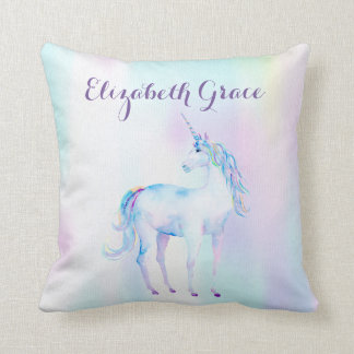 Unicorn Magical Rainbow Lavender Pink Turquoise Throw Pillow