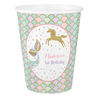 Unicorn & Mermaid Birthday Paper Cup Pink Gold Cup