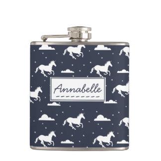 Unicorn Midnight Sky Pattern Hip Flask