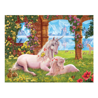 Unicorn Mother and Foal Postcard