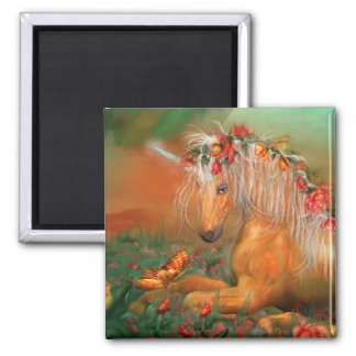 Unicorn Of The Roses Art Magnet