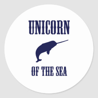 Unicorn of the Sea (Narwhal) Round Sticker