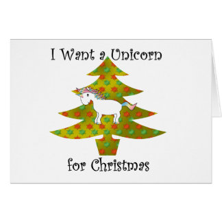 Unicorn on Christmas tree on gold fade Card