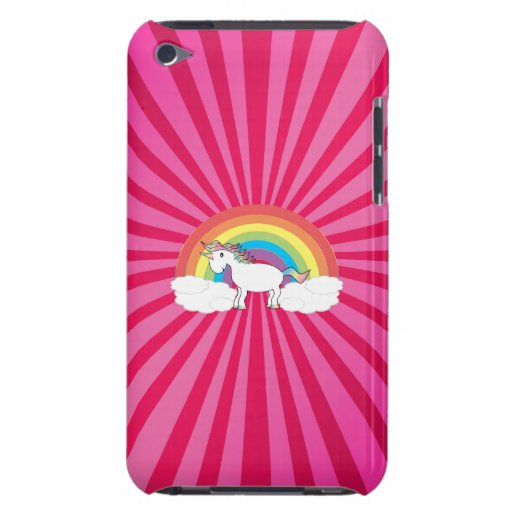 Unicorn on clouds on pink sunburst barely there iPod case