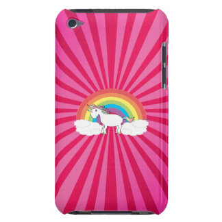 Unicorn on clouds on pink sunburst Case-Mate iPod touch case