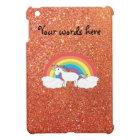 Unicorn on clouds orange faux glitter iPad mini cover