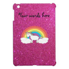 Unicorn on clouds pink faux glitter cover for the iPad mini