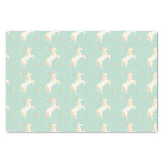 Unicorn on mint background with floral elements tissue paper
