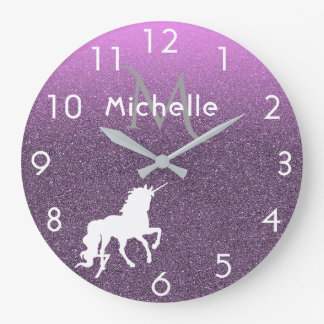 Unicorn on ombre ultra violet glitter and pink large clock