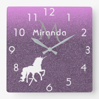 Unicorn on ombre ultra violet glitter and pink square wall clock