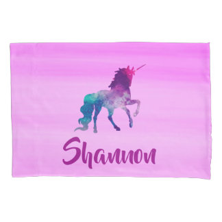Unicorn on pink pastel with name pillowcase
