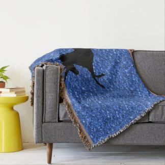 Unicorn on sparkling glitter print throw blanket