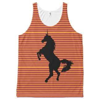 Unicorn, Orange Stripes on Burgundy. All-Over Print Singlet