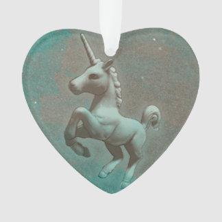 Unicorn Ornament - Heart Ribbon (Teal Steel)