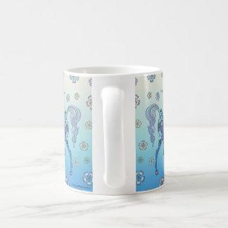 Unicorn Pale Blue in Flowers Basic White Mug