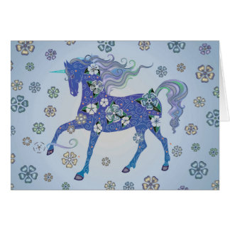 Unicorn Pale Blue in Flowers Card