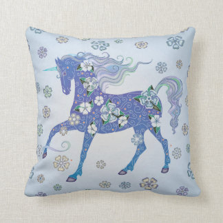 Unicorn Pale Blue in Flowers Throw Pillow