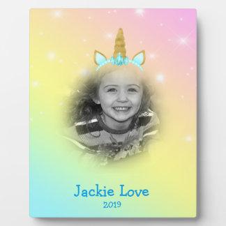 Unicorn Paper Rainbow Headband Photo Template Blue Plaque