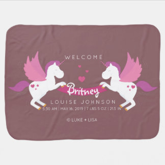 Unicorn Parents Welcome Baby Girl Birth Stats Baby Blanket