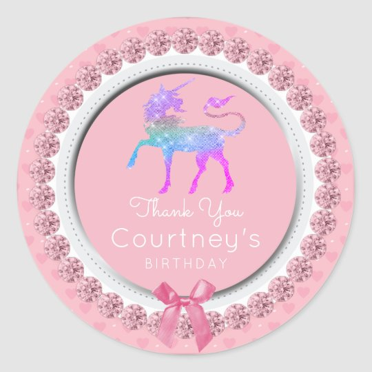 Unicorn Party Favour Thank You Birthday Tag Pink