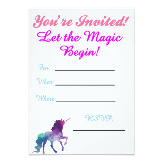 Unicorn Party Inviations Card