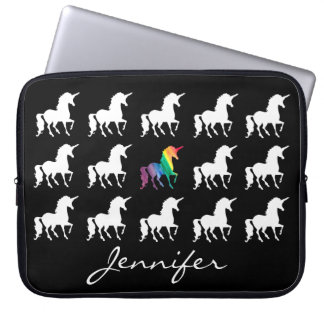 Unicorn Pattern Personalized Black White Girls Laptop Sleeve
