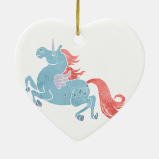 Unicorn Pegasus Ceramic Heart Decoration