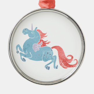 Unicorn Pegasus Silver-Colored Round Decoration
