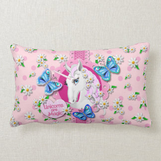 Unicorn Pillow with butterflies and daisies