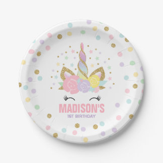 "Unicorn Pink And Gold Paper Plate 7"" Paper Plates"