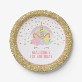 """Unicorn Pink And Gold Paper Plate 7"""" Paper Plates 7 Inch Paper Plate"""