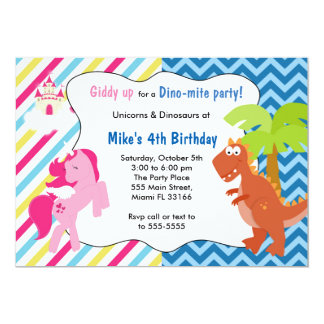 Unicorn Pony Dinosaur Invitation Birthday Party