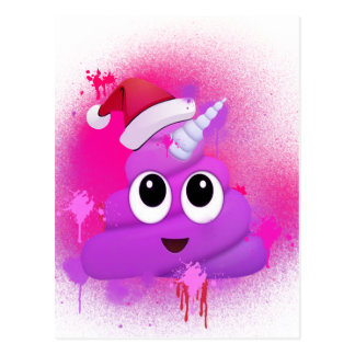 Unicorn Poop Santa Emoji Spray Paint Postcard