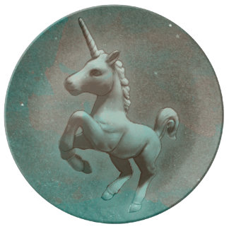 Unicorn Porcelain Plate Decor (Teal Steel)