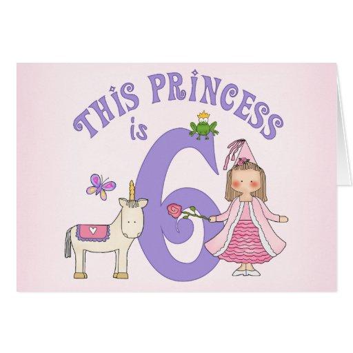 Unicorn Princess 6th Birthday Invitation Greeting Card