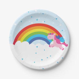 Unicorn Princess Rainbow 7 Inch Paper Plate