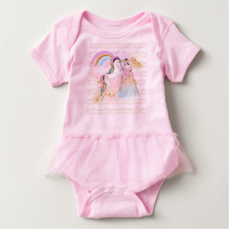 Unicorn Princess Rainbow music stars pink blue Baby Bodysuit