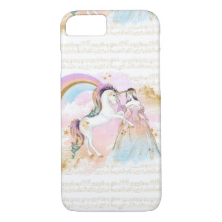 Unicorn Princess Rainbow music stars pink blue iPhone 7 Case