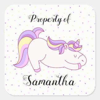 Unicorn property of stickers with confetti