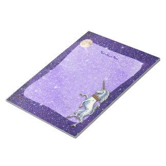 Unicorn Purple Faux Glitter Border Notepads