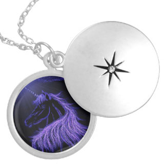 UNICORN - PURPLE SILVER PLATED NECKLACE