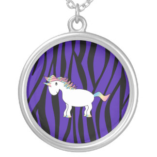 Unicorn purple zebra stripes silver plated necklace