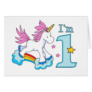Unicorn Rainbow 1st Birthday Fill-in Card Invite