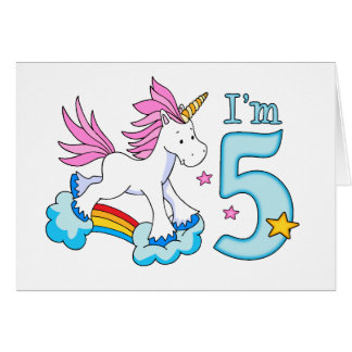 Unicorn Rainbow 5th Birthday Card
