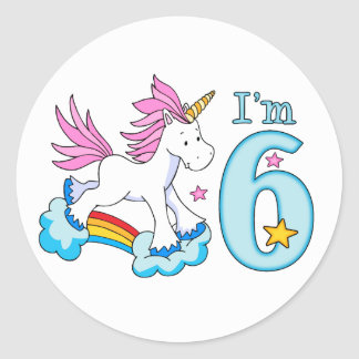 Unicorn Rainbow 6th Birthday Classic Round Sticker