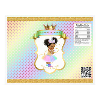 Unicorn Rainbow Afro Puffs Baby Girl Chip Bag Flyer
