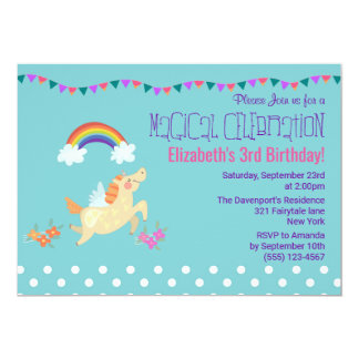 Unicorn Rainbow and Clouds Birthday Invite