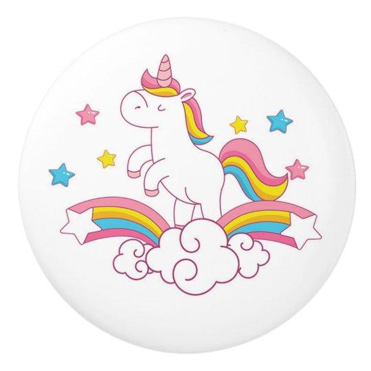 Unicorn rainbow bedroom decor, drawer knob